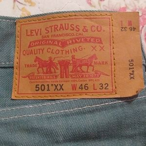 Levi's Men's 501 XX Button Fly Green Jeans 46 x 32